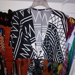 Black and White Aztec sweater/ cardigan for women